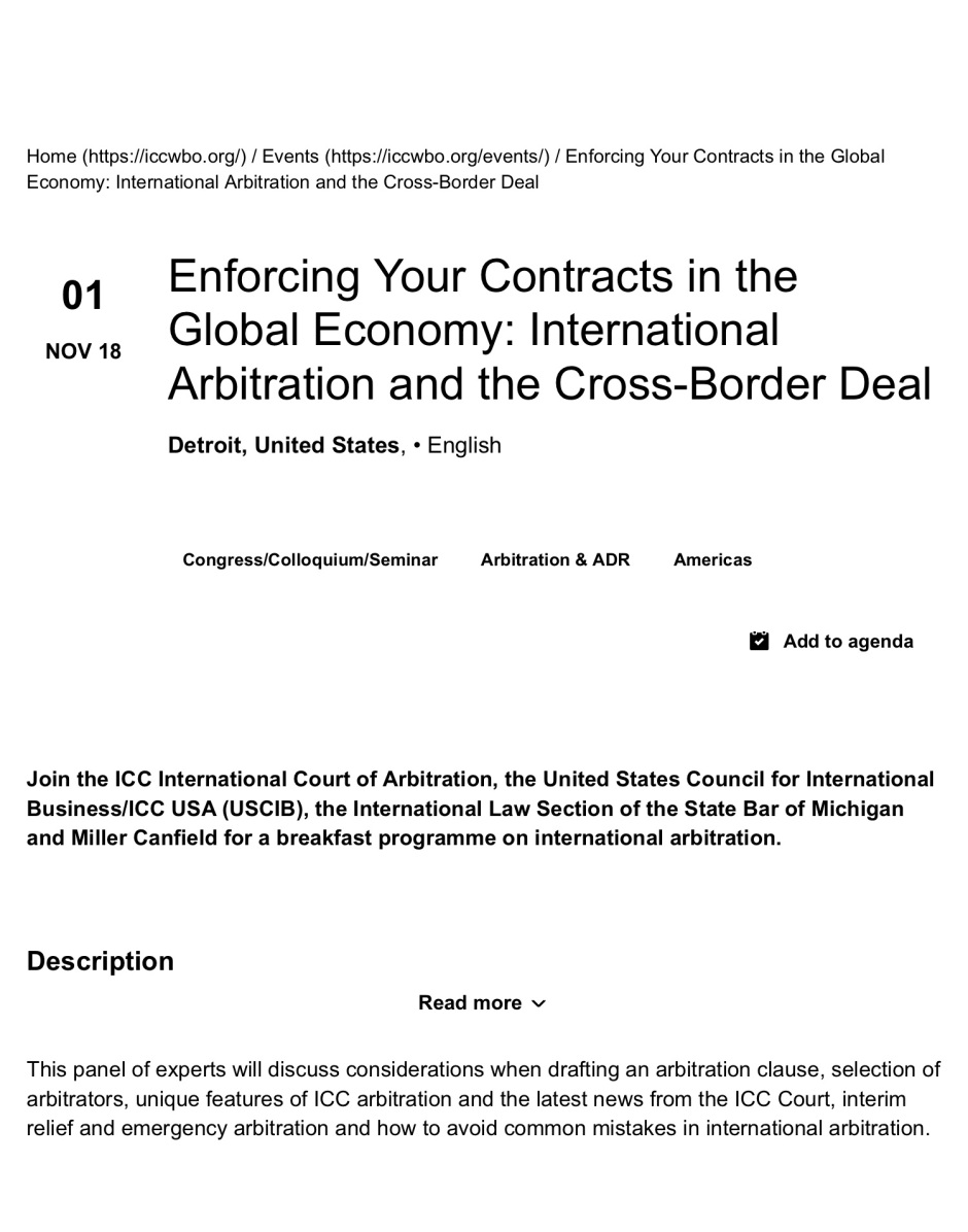 Enforcing Your Contracts in the Global Economy: International Arbitration and the Cross-Border Deal